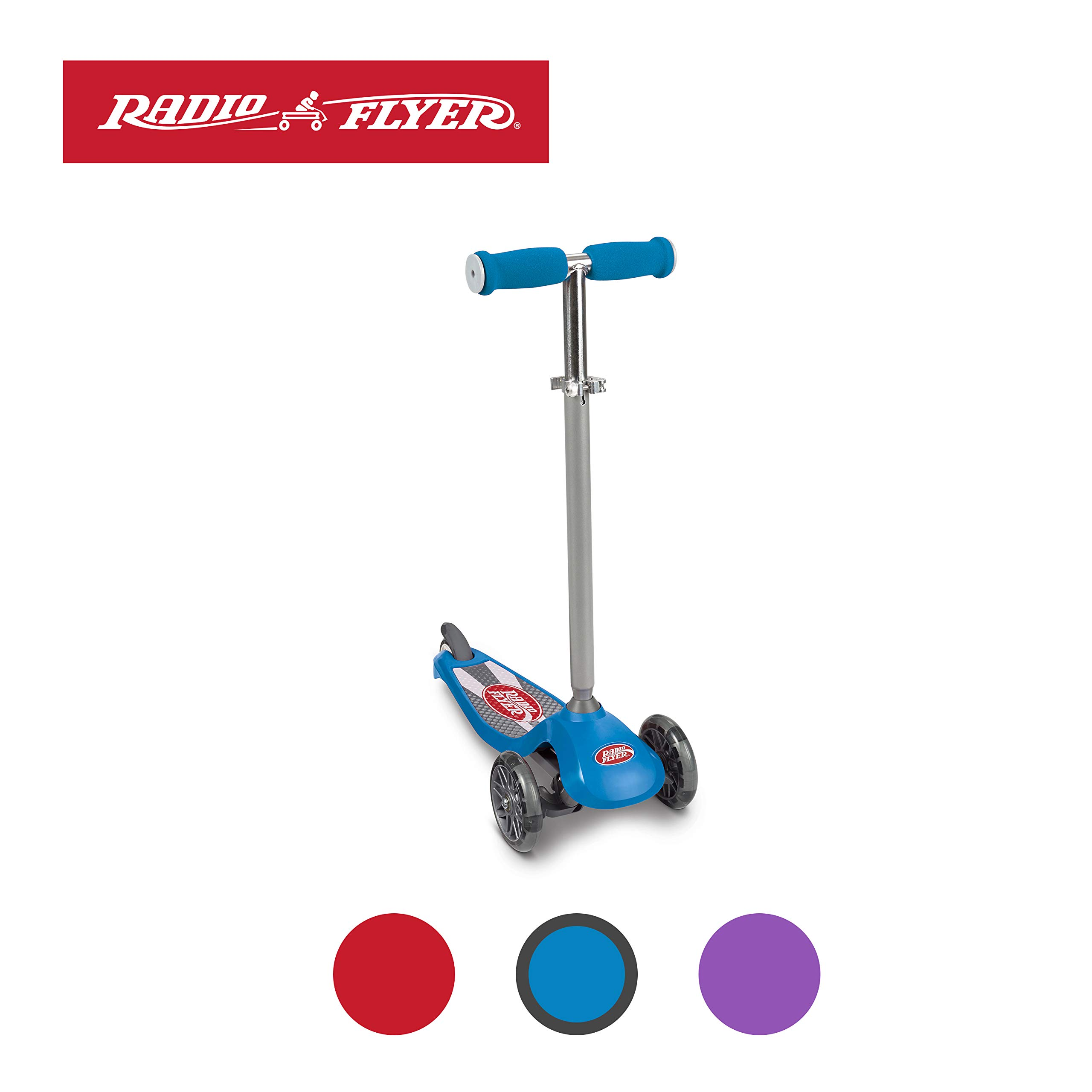 Radio Flyer Lean 'N Glide Scooter with Light Up Wheels Kids Scooters Blue by Radio Flyer