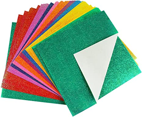 10 Colors 50 Sheets 7.8 Inch Square Easy Fold Paper for Beginner Naimo Shiny Origami Paper