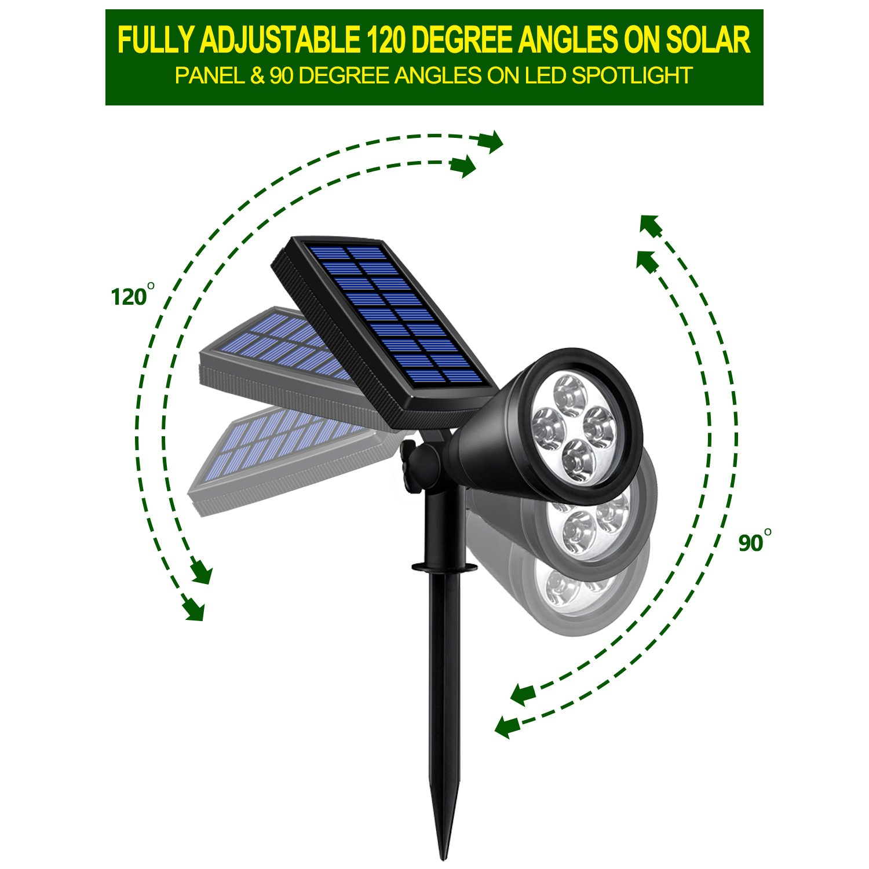 Solar Lights Outdoor, Lovin Product 2-in-1 Adjustable Solar Spotlight with 4 LED; Pir Sensor/ Auto On/Off sensor/ 2 Modes/ IP64 Waterproof/ Super Bright Wall / Landscape Lights (4 Pack) by LOVIN PRODUCT (Image #3)