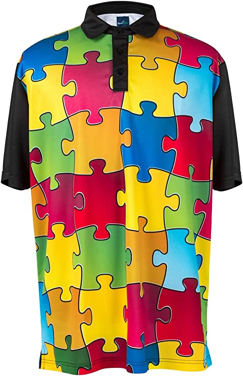 ReadyGOLF Mens Golf Polo Shirt - Puzzled XX-Large