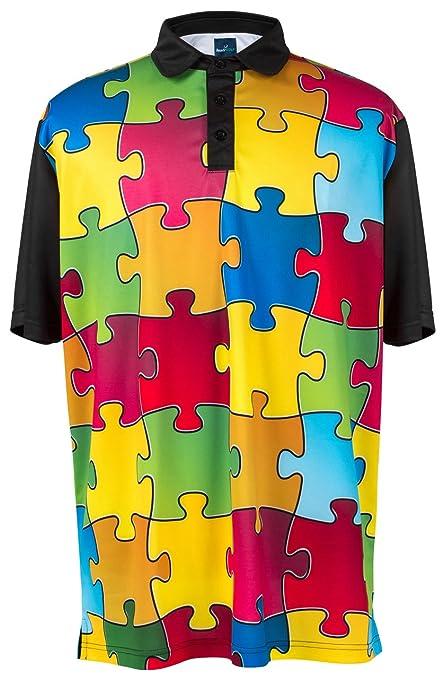 c2b959f9 Amazon.com: ReadyGOLF Mens Golf Polo Shirt - Puzzled XX-Large: Everything  Else