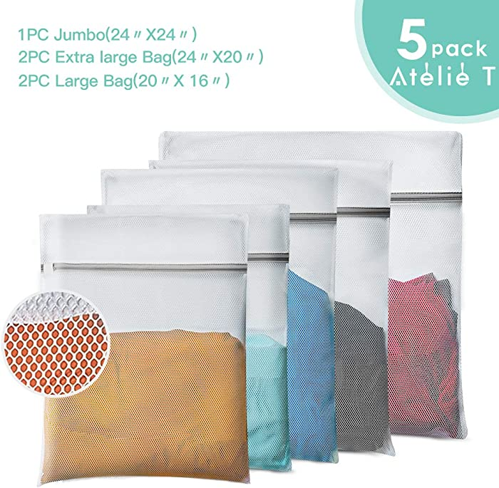 ATELIE T Mesh Laundry Bag, Set of 5 Lingerie Wash Bag - 1 Jumbo, 2 Extra Large & 2 Large Bags Laundry, Blouse, Hosiery, Stocking, Underwear, Bra Lingerie, Travel Laundry Bag