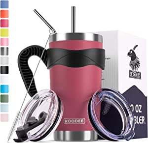 Koodee 20 oz Rose Red Tumbler Stainless Steel Insulated Coffee Cup with 2 Straws and 2 Lids, Brush,Handle (20 oz, Rose Red)