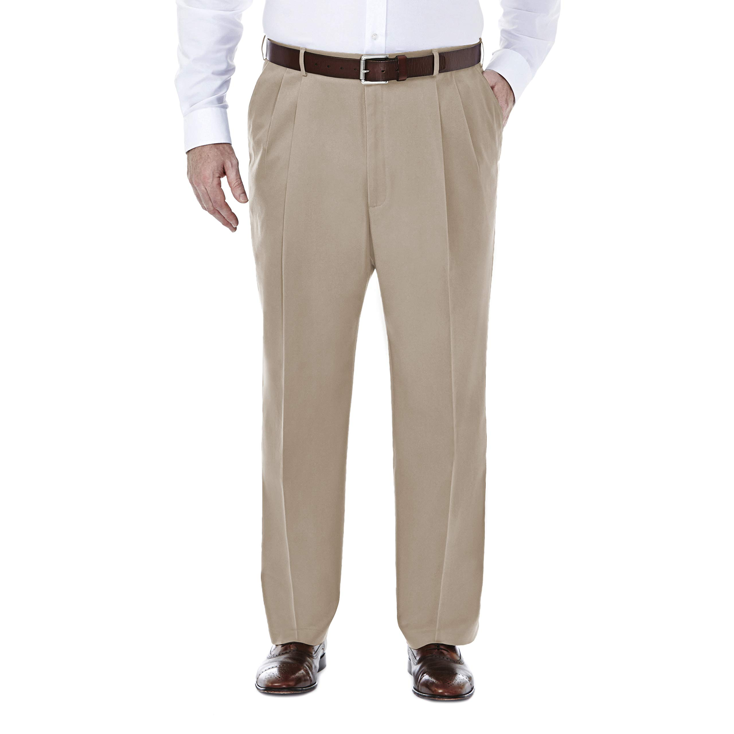 Haggar Men's Big and Tall Premium No Iron Heather Classic Fit Expandable Waist Plain Front Pant, Sand, 60Wx30L