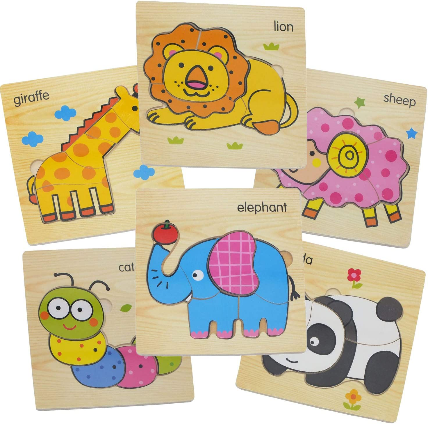 Vision and Motor Skills to Complete.Boys /&Girls Educational Toys Gift, A Perfect Challenge for A Growing Mind! 6 Patterns Toddler Puzzles.More Creativity Wooden Puzzles