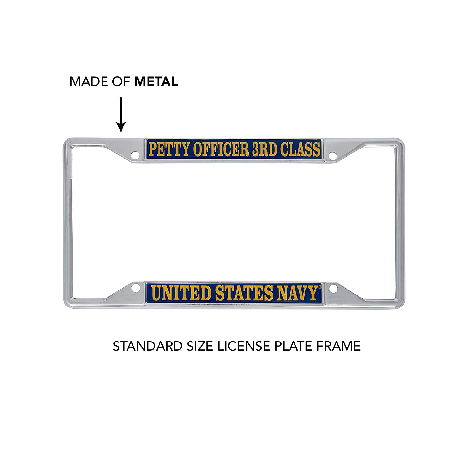 Desert Cactus US Navy Petty Officer 3rd Class Enlisted Grades License Plate Frame for Front Back of Car Officially Licensed United States