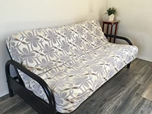 Octorose Full Size Chenille Grey and Oxford Two Tone Futon Cover (Chenille-Grey)