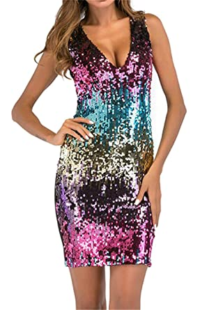 62aa559b2 SELX Women s Sexy V-Neck Bodycon Sparkly Sequin Cocktail Short Mini Dress  Blue US XS