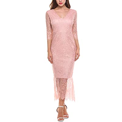 ACEVOG Women's Retro V Neck Floral Lace Mermaid Evening Party Long Dress