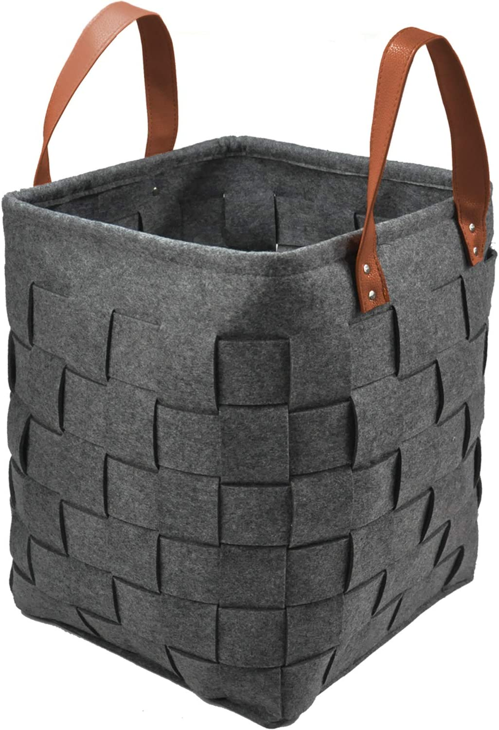 """GOHOME Large Storage Baskets, Felt Organizer Storage Bin for Clothes, Blankets, Towels, Sofa Throws, Toys or Nursery, Large Decorative Laundry Hamper with Durable Handles(12.5""""x12.5""""x15.8""""/40L)"""