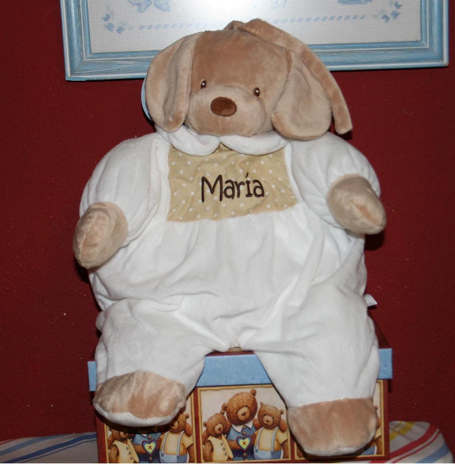PRIMERAEDAD/ Muñeco guarapañales personalizado con mombre/color beige/ Casa Dorada del Mediterraneo S.L.