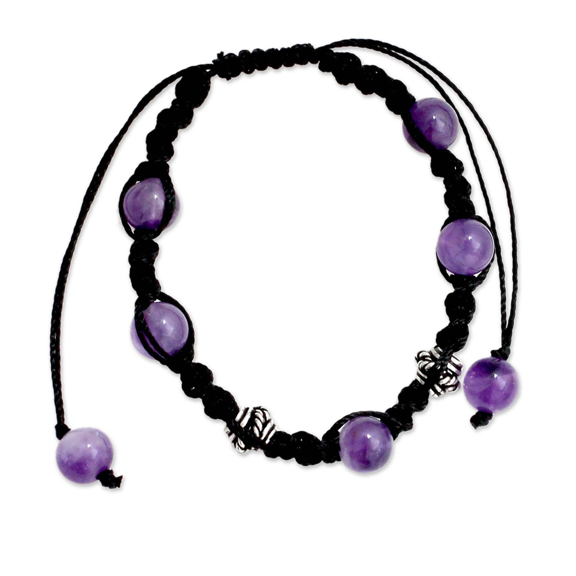 NOVICA Handmade Amethyst Shambhala Style Macrame Bracelet with Sterling Silver Accent 'Violet Peace'