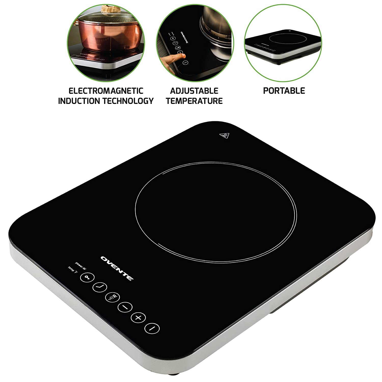 Ovente Induction Countertop Burner, Cool-Touch Ceramic Glass Cooktop with Temperature Control, Timer, 1800-Watts, Digital LED Touchscreen Display, Indoor/Outdoor Portable Single Hot Plate (BG61B)