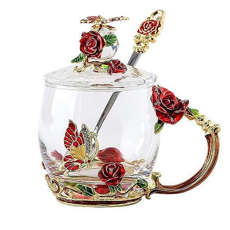 Amazon Com Lilyss Tea Cups Coffee Mug With Lid Spoon For Women