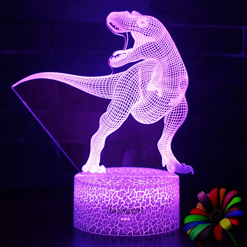 Night Light 3D lamp 7 Colors Changing Nightlight with Smart Touch Control 3D Night Light for Kids Room Decor or Perfect Gift for Kids Bedroom Theme Decor (Dinosaur Tyrannosaurus) by LLAMEVOL (Image #7)