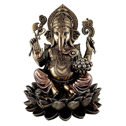 Ganesh Ganesha Idol Hindu Elephant God of Success Real Bronze Powder Cast Statue 12.8 Inches
