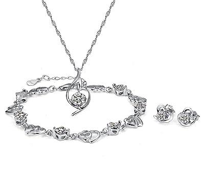 Fashion Jewelry Plata De Ley Rosa Cristales Blancos Circonita Cúbica Collar Con Colgante