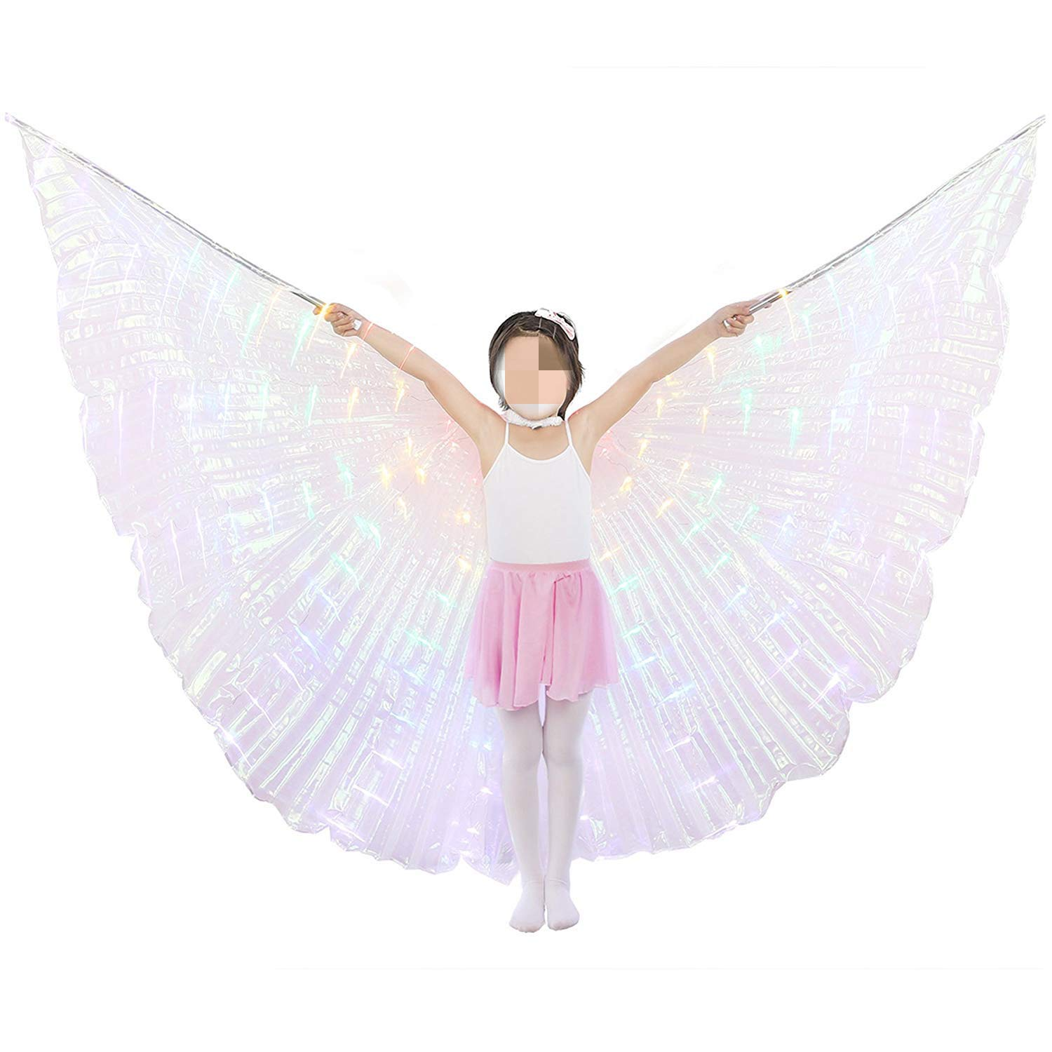 xiaoxiaoland εїз Belly Dance Wing with Rods-360 Degree Angel Wings with Portable Telescopic Sticks for Adults and Child,Colorful-child by xiaoxiaoland