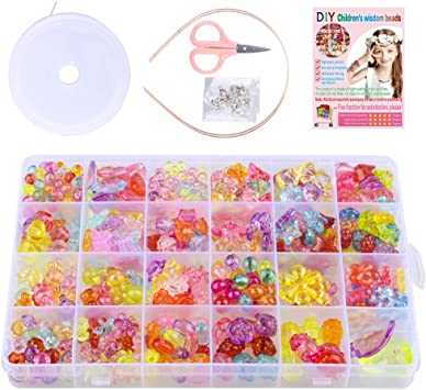 ZesNice Jewellery Making Kit for Girls 200 Pcs Emoji Beads for Bracelet Making Christmas Gifts for Girls Age 4 5 6 7 Arts and Crafts for Kids