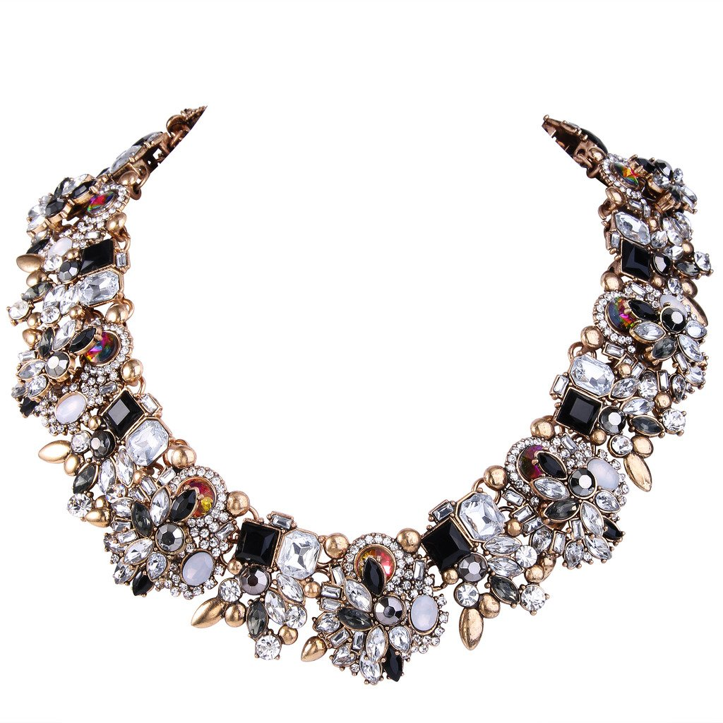 EVER FAITH Vintage Style Art Deco Statement Necklace Austrian Crystal Gold-Tone Black w/Clear