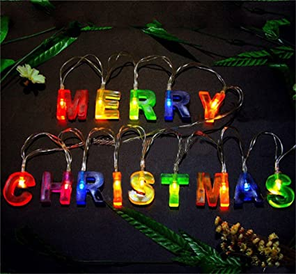 leagway merry christmas lights multi color merry christmas letter battery operated led string light