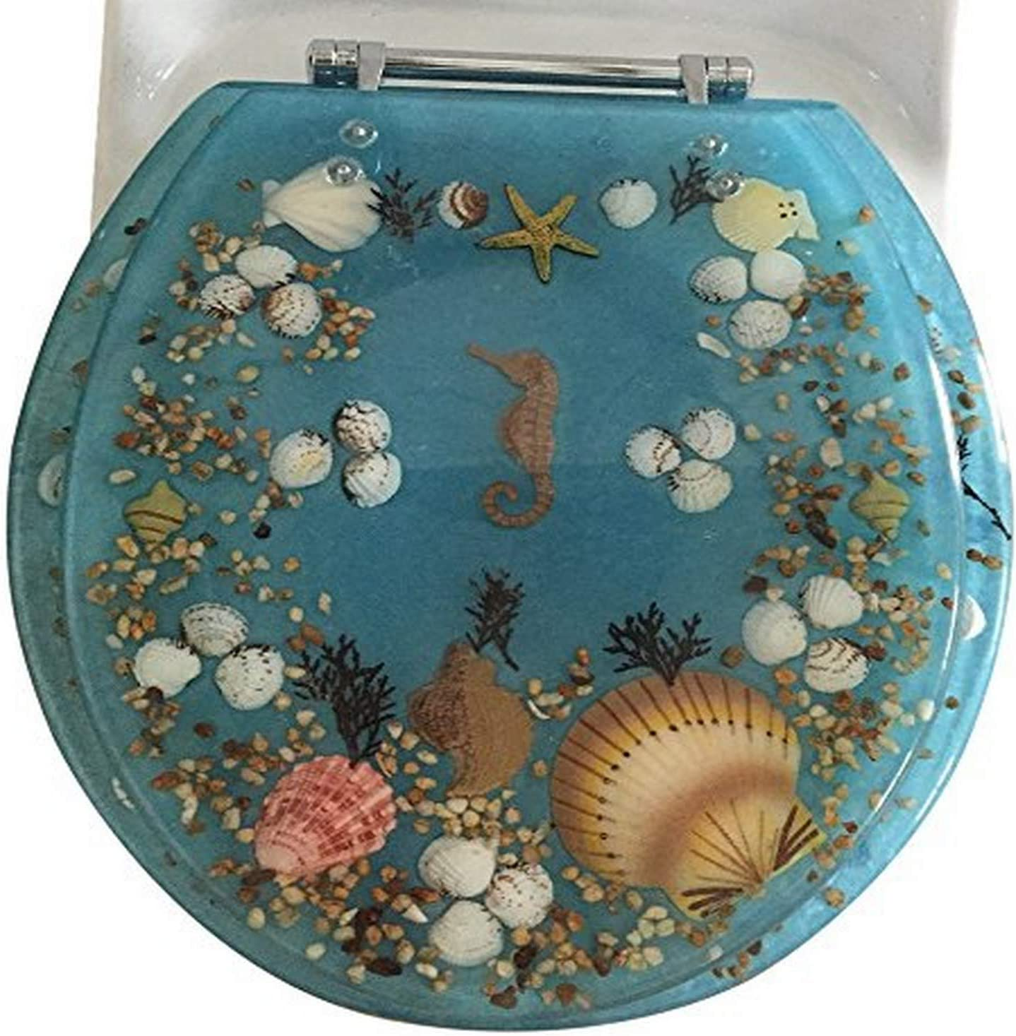 Amazon Com Daniel S Bath Beyond Polyresin Round Seahorse Toilet Seat 17 Blue Home Kitchen