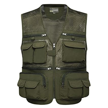 e73ab5c36420c Zicac Men's Outdoor Mesh Quick-Dry Fly Fishing Vest Multi-Pockets Climbing  Photography Travel