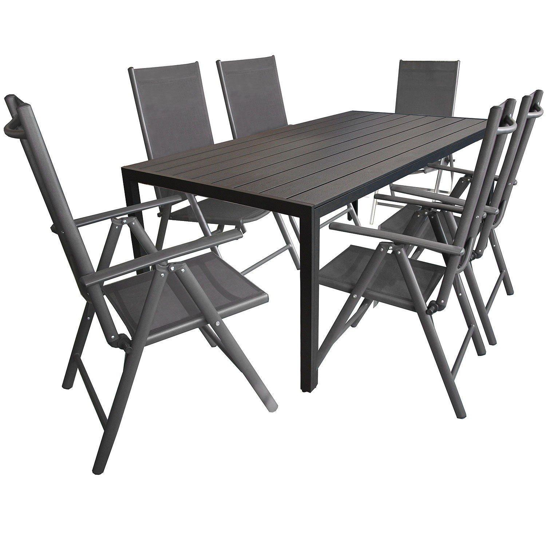 wohaga 7tlg sitzgarnitur aluminium gartentisch tischplatte aus polywood schwarz 205x90cm 6x. Black Bedroom Furniture Sets. Home Design Ideas