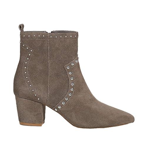 Parfois - Botines Cowboy/Real Suede - Mujeres - Tallas 41 - Gris Pardo: Amazon.es: Zapatos y complementos