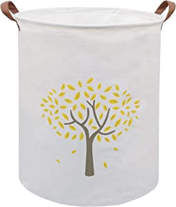 ESSME Large Storage Bin,Canvas Fabric Storage Baskets with Handles,Collaspible Laundry Hamper for Household,Gift Baskets,Toy Organizer (Yellow Tree)