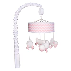 Trend Lab Pink Sky Musical Crib Mobile, Pink/White