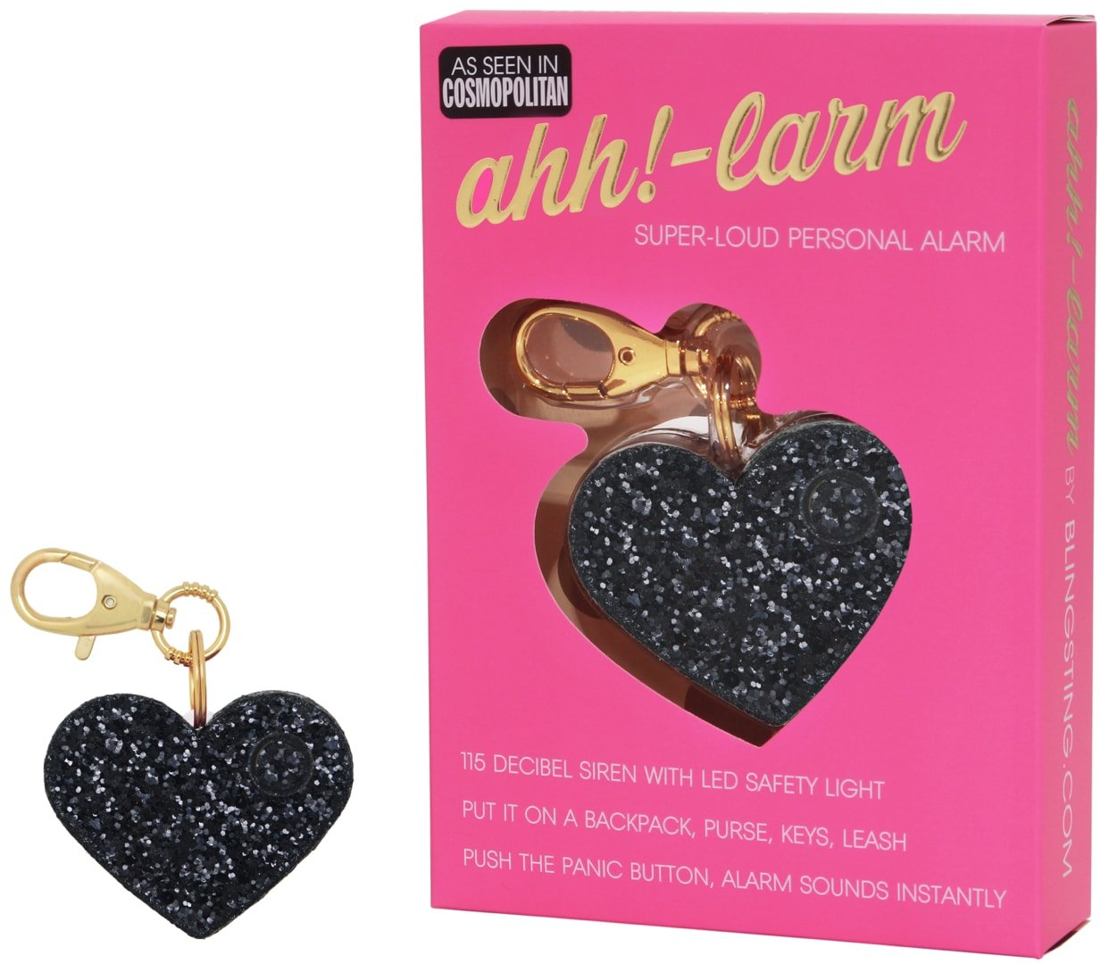 BLINGSTING Ahh!-Larm Emergency Self-Defense Personal Panic Alarm Keychain for Women with LED Safety Light and Clip, Black Glitter Heart