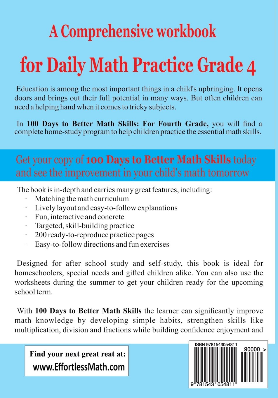 100 Days to Better Math Skills: Fourth Grade Workbook (Effortless ...