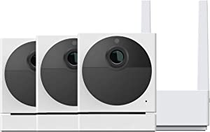 Wyze Cam Outdoor Bundle (Includes Base Station and 3 Cameras), 1080p HD Indoor/Outdoor Wire-Free Smart Home Camera with Night Vision, 2-Way Audio, Works with Alexa & Google Assistant - 3 Camera Kit