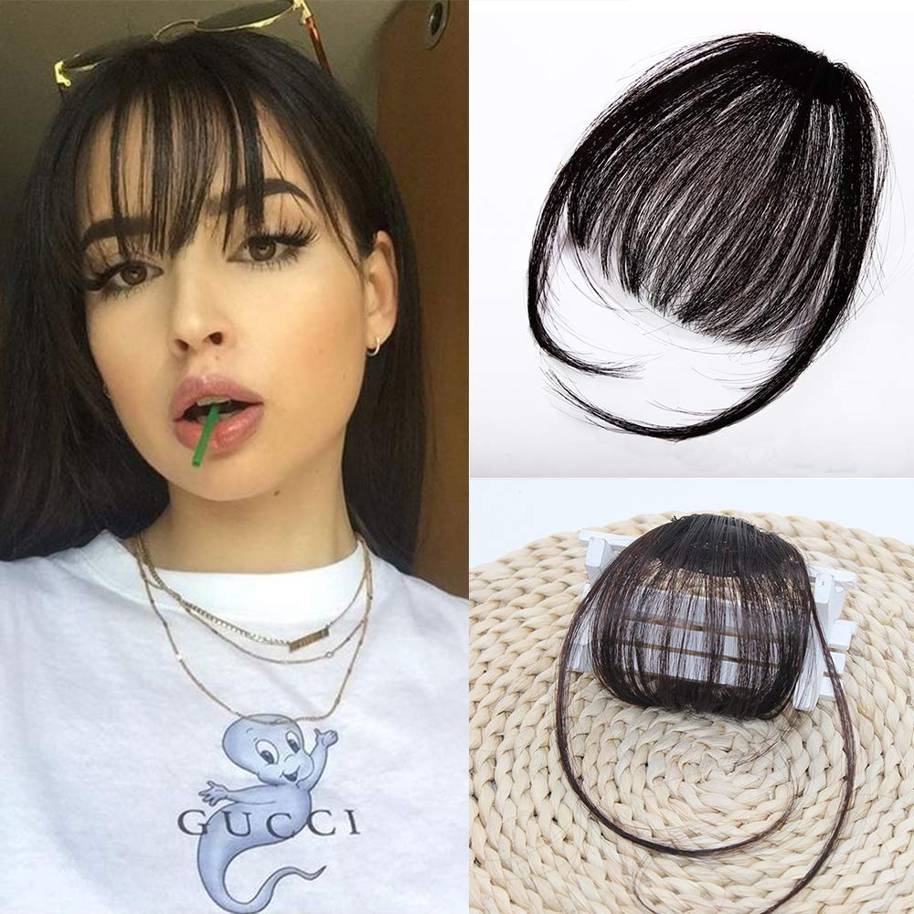 Clip in Air Bangs Remy Human Hair Extensions One Piece Front Neat Air  Fringe Hand Tied Straight Flat Bangs Clip on Hairpiece for Women (Black)