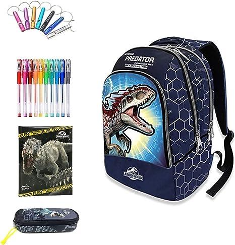 Jurassic world. Mochila escolar doble azul + Estuche con cremallera + Diario de fecha + Llavero silbato + 10 bolígrafos de colores: Amazon.es: Deportes y aire libre