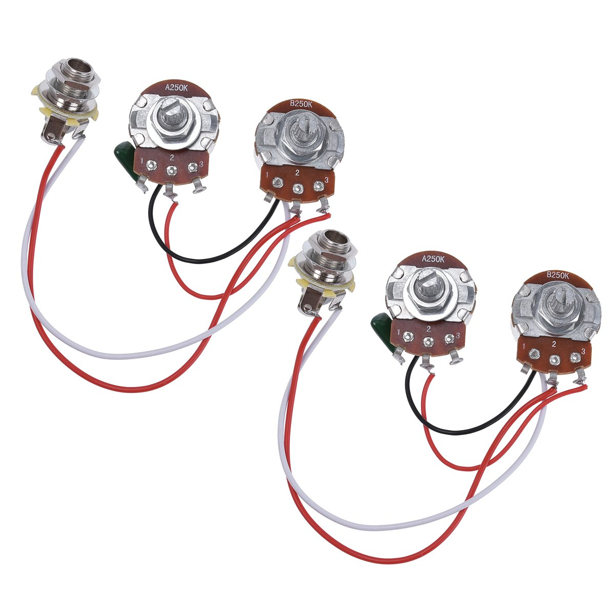 Bass Wiring Harness Prewired Kit For Precision Dragonfire Two Pickup 500k Toggle Chrome Great With Guitar 250k Pots 1 Volume Tone Jack Pack Of 2 Musical Instruments