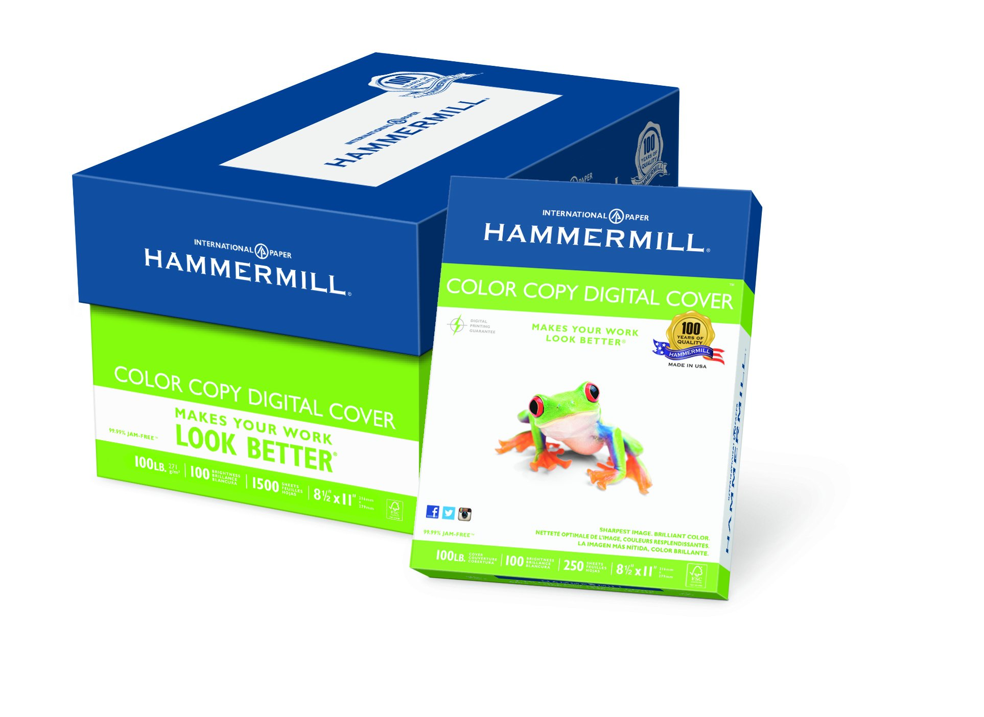 Hammermill Paper, Color Copy Digital Cover, 100lb, 8.5 x 11, Letter,  100 Bright, 1500 Sheets / 6 Pack Case, (120024C), Made In The USA