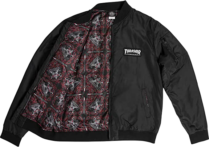 Thrasher Magazine MAG LOGO PATCH BOMBER Skateboard Jacket BLACK XL