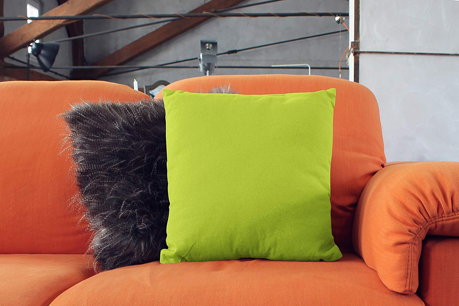 Encasa Homes Throw Cushion Cover 2pc Set - Lime Green - 18 x 18 inch Solid Dyed Cotton Canvas Square Accent Decorative Pillow Case for Couch Sofa ...