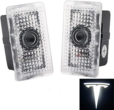 pair Upgraded Tesla Model 3 Ultra-Bright LED Puddle Door Lights Car Logo Projector Door Step Light for Tesla Model 3