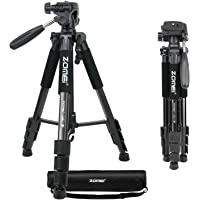 YANTRALAY SCHOOL OF GADGETS Zomei 55 Inch/140 cm Aluminium Alloy Tripod with 360 ° Rotating Pan Head and Mobile Attachment for Professional DSLR and Point Shoot Cameras (Black)