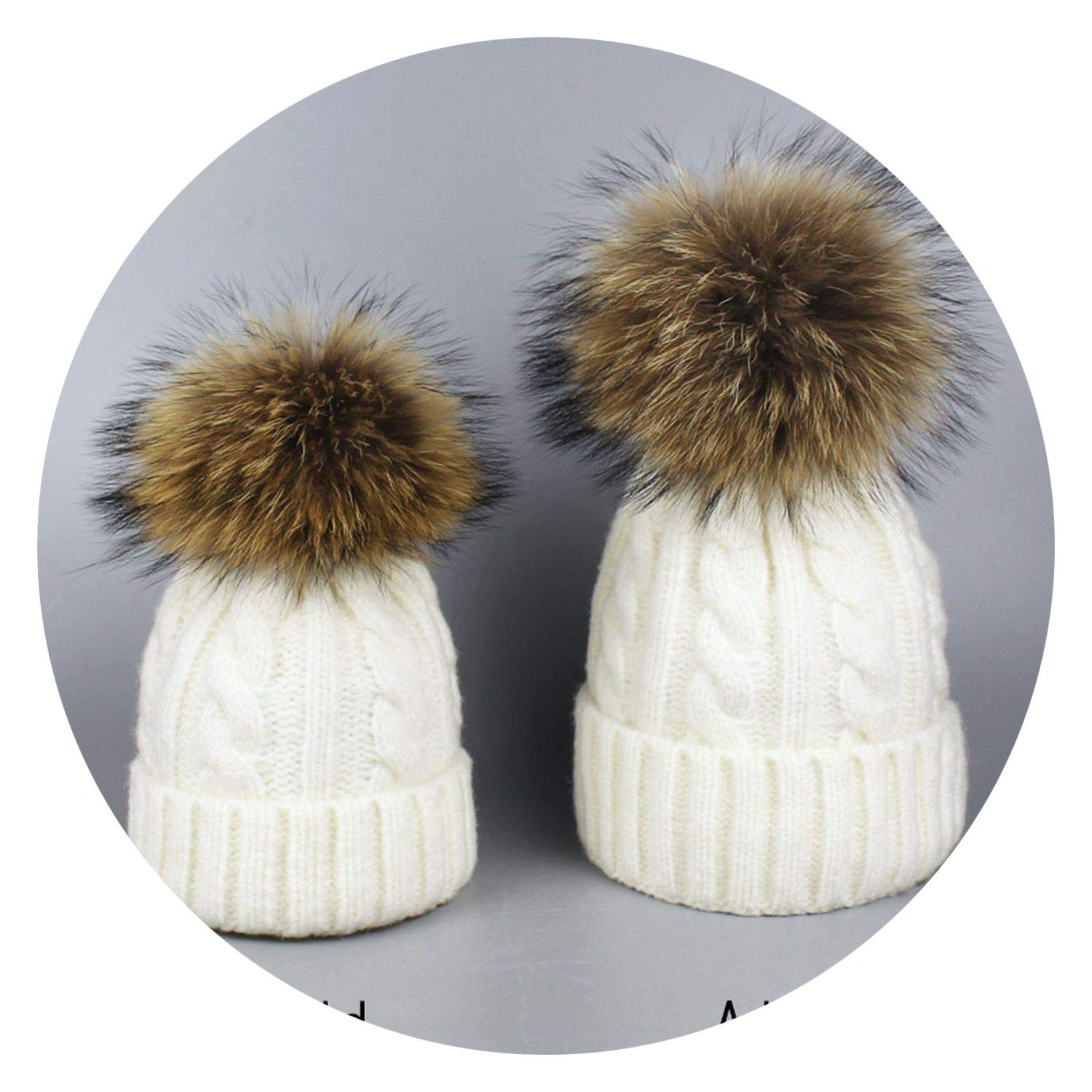 and Woman Winter Pompom Hats Girls Real Pompom Hat Boys Ski Adult Hat Skullies,Khaki,