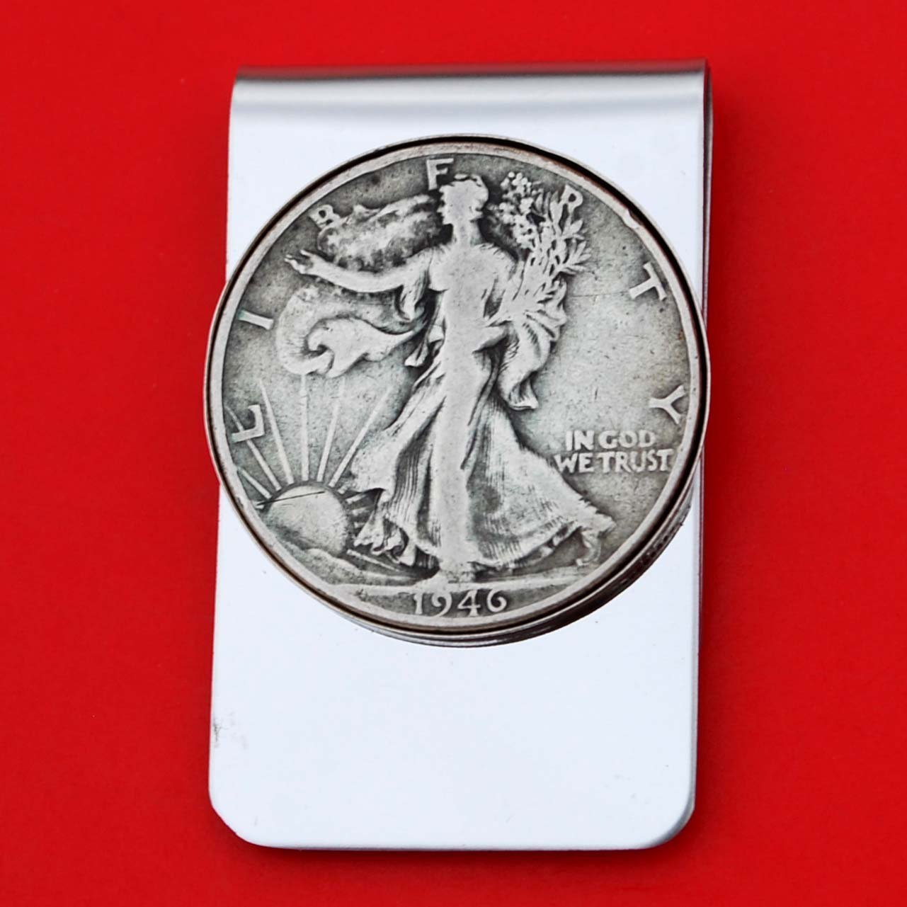 US 1946 Walking Liberty Half Dollar 90% Silver Coin Stainless Steel Money Clip NEW - Silver Plated Coin Bezel