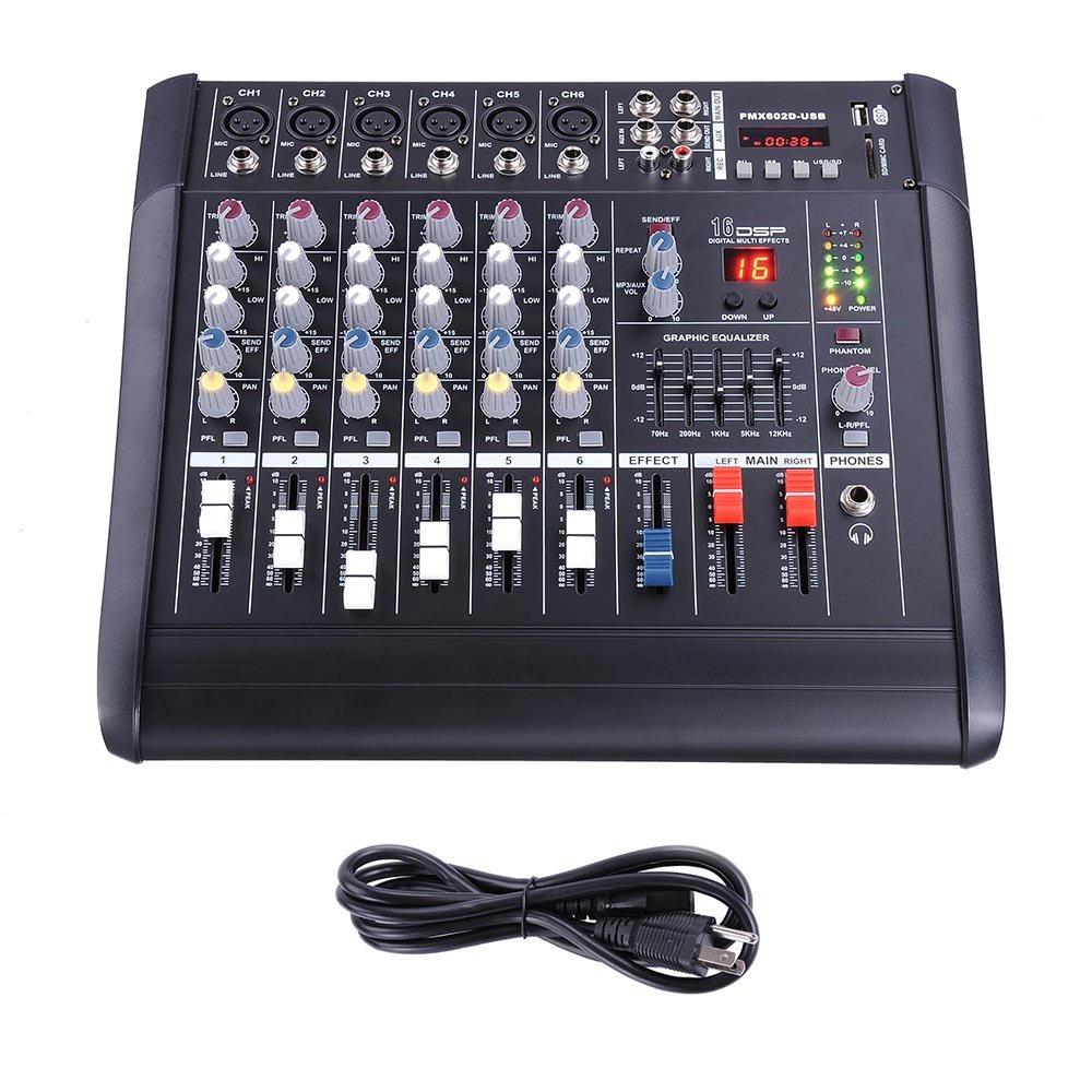 AW 6 Channel 2000 Watt Professional Powered Mixer w/ USB Slot Power Mixing 13x14x5'' 110V