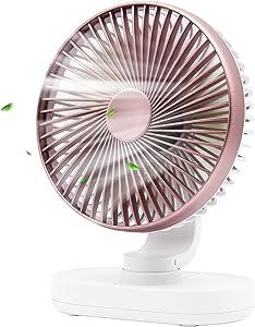 USB Mini Desk Fan,Portable Oscillating Fan with 4 Speeds,6.5-inch Adjustable Quiet Table Fan,Rechargeable Battery Operated Personal Fan for Home Office Bedroom Desktop Table