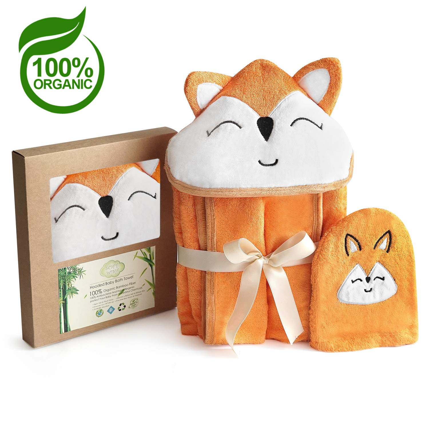 Fox Style Bamboo Baby Hooded Bath Towel & Washing Glove Set - Size 40x28'', Hypoallergenic, Ultra Absorbent, 100% Natural by Soft Wish