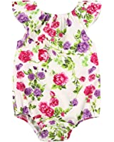 MIOIM Infant Toddler Baby Girl Vibrant Floral Printed Romper Bodysuit Jumpsuit Outfits