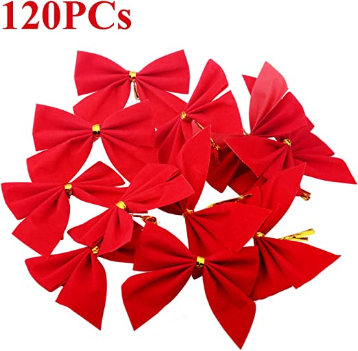 "tree bows etc.. Luxury Red Velvet 5/"" tie on bows xmas gifts pack of 3"