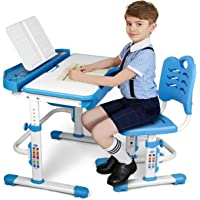 "SIMBR Kids Desk and Chair Set, Height Adjustable Ergonomic Student Study Desk and Chair Set with Large Storage Drawer, 28""x22"" Desktop, 55° Tilted Table"